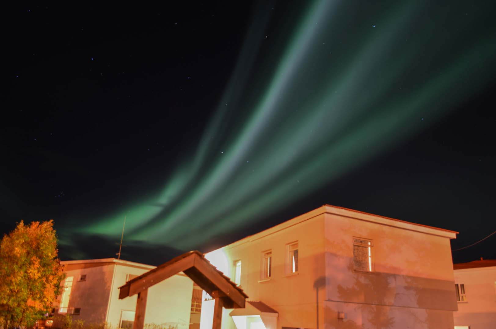 Northern lights over Akureyri Hostel & Guesthouse Stórholt